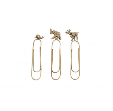 Animal Paperclips Antique Brass Set of 3