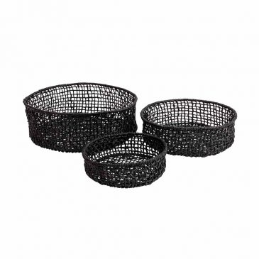 Checker Table Tray Black - Set 3