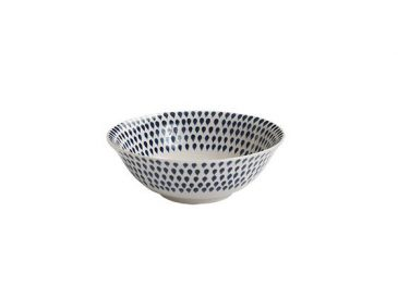 Indigo Drop Cereal Bowl Cream & Indigo