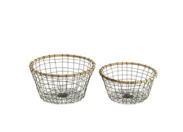 Koba Bowl Distressed Grey & Wicker  Large