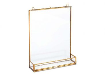 Kiko Glass Frame With Shelf Antique Brass