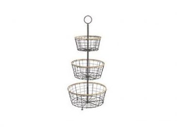 Koba Wire Bowl Stand Distressed Grey & Wicker