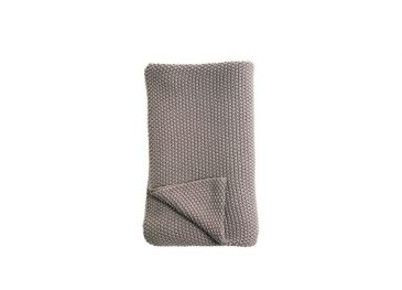 Moss Stitch Cotton Throw Pewter
