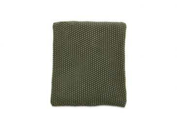 Moss Stitch Cotton Throw Forest Green