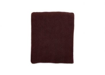 Moss Stitch Cotton Throw Aubergine