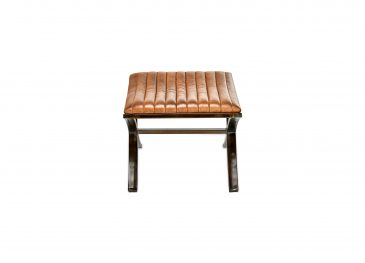 Narwana Ribbed Leather Foot Stool Aged Leathe