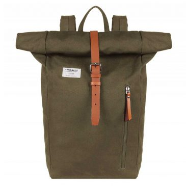 Sandqvist Dante Backpack olive with cognac brown